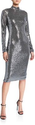 Badgley Mischka Sequin Mock-Neck Long-Sleeve Sheath Dress