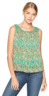 Max Studio Women's Print Sleeveless Bubble Top with Pleat Detail
