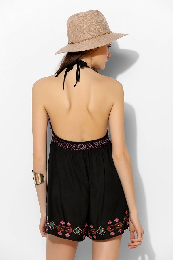 Urban Outfitters Ecote Lotus Embroidered Open-Back Romper