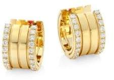 Roberto Coin Portofino Diamond& 18K Yellow Gold Hoop Earrings