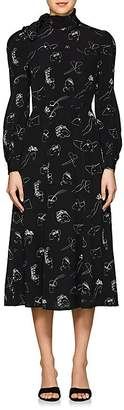 Co Women's Face-Print Silk Midi-Dress