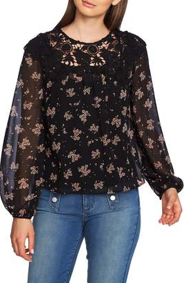 1 STATE 1.STATE Lace Inset Ditsy Top