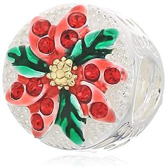 Swarovski Chamilia sparkling poinsettia - light siam crystal w gold electroplating and red and green enamel charm