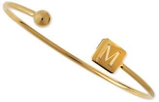 Sarah Chloe Elle Square Initial Bracelet, Gold Vermeil
