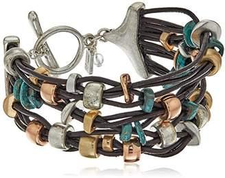 Robert Lee Morris Femme Petal Mixed Metal Bead Multi-Row Toggle Bracelet