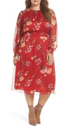 Vince Camuto Garden Fleur Chiffon Blouson Dress