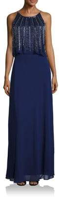 Aidan Mattox Two-Tiered Embellished Popover Bridesmaid Gown