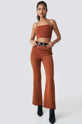 Hannalicious X Na Kd High Waist Bootcut Suit Pants Rust