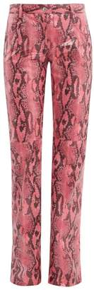 MSGM Python Effect Patent Trousers - Womens - Pink