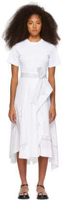 3.1 Phillip Lim White Poplin Combo T-Shirt Dress