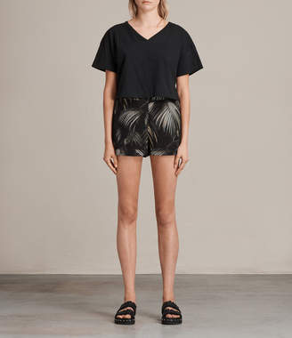 AllSaints Emen Neluwa Palm Silk Shorts