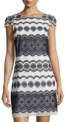Julia Jordan Boat-Neck Embroidered Shift Dress, Blue/White $99 thestylecure.com