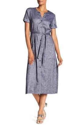 Theory Rolled Sleeve Linen Blend Midi Shirt Dress