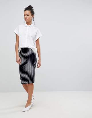Asos Design Jersey Pencil Skirt In Pinstripe