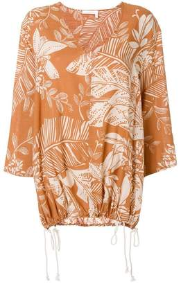 See by Chloe foliage print drawstring top