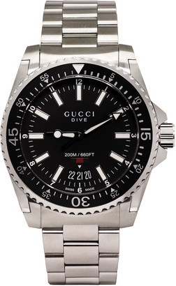 Gucci Silver & Black Large Dive Watch $990 thestylecure.com