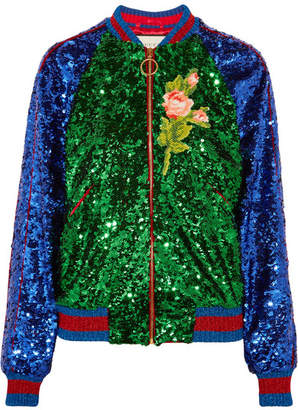 Gucci Appliquéd Sequined Tulle And Satin Bomber Jacket - Green