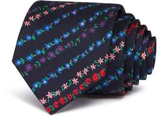 Paul Smith Mini Floral Stripe Skinny Tie