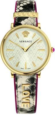 Versace Women's Luxury V Circle Dial Snakeskin Watch (Model: VBP080017)