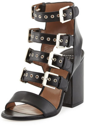 Laurence Dacade Kloe Leather Buckle Cage Sandal, Black $1,050 thestylecure.com