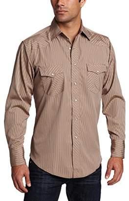 Wrangler Men's Sport Western Dobby Stripe Snap Shirt