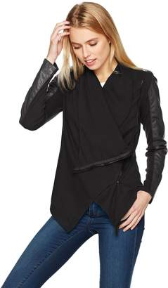 Blank NYC [BLANKNYC] Women's Faux-Leather and Knit Jacket,Private Practice