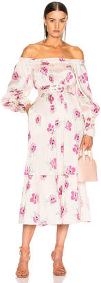 Nicholas Pleated Prairie Dress in Fuchsia Multi | FWRD