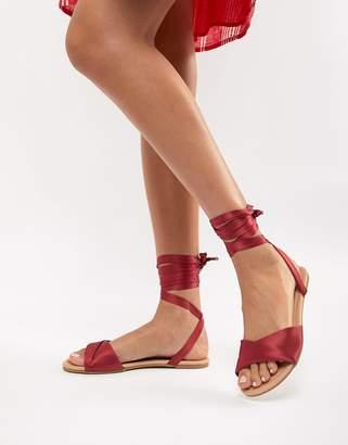 Asos DESIGN Flashing Tie Leg Flat Sandals