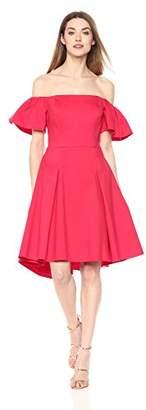 Halston Women's Off Shoulder Flounce Sleeve Dress