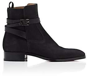 Christian Louboutin Men's Quico Flat Reverse-Leather Jodhpur Boots-Black