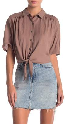 GOOD LUCK GEM Easy Cropped Tie Front Shirt
