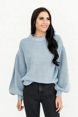 Everyday ShopRachel Parcell Chic Puff Sleeve Sweater In Dusty Blue