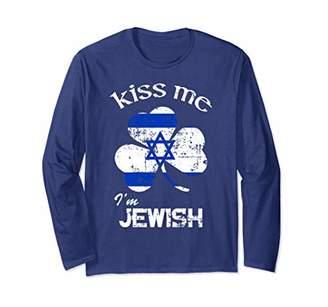 Distress Kiss Me I'm Jewish Long Sleeve St. Patrick's Day