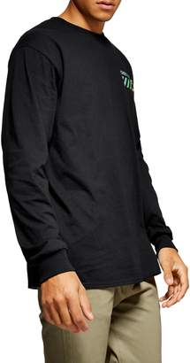 Topman Over and Over Graphic Oversize Long Sleeve T-Shirt