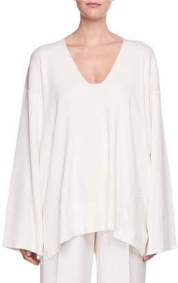 The Row Lesli V-Neck Long-Sleeve Oversized Sweater