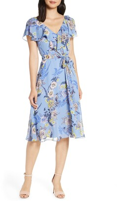 Eliza J Floral Ruffle Chiffon Dress