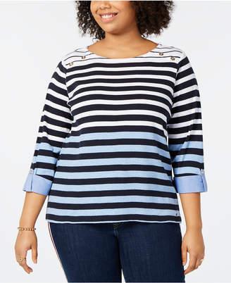 Tommy Hilfiger Plus Size Cotton Striped Top