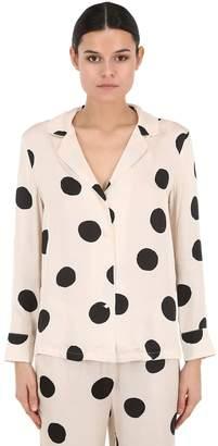 Polka Dot Satin Pajama Shirt