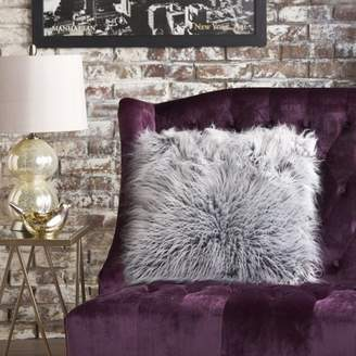 Noble House Abigaile Furry Pillow, Single, Silver Grey