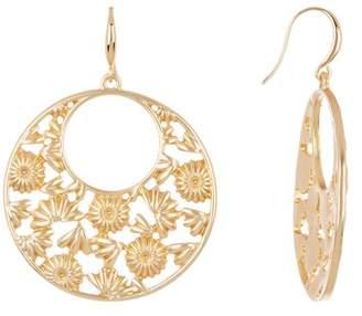 Trina Turk Cutout Flower Hoop Dangle Earrings