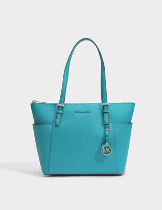 MICHAEL Michael Kors Jet Set Item East-West Top Zip Tote Bag in Pale Blue Saffia Leather