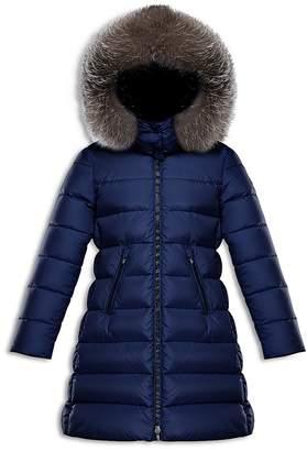 Moncler Girls' Abelle Fur-Trimmed Down Puffer Coat - Big Kid