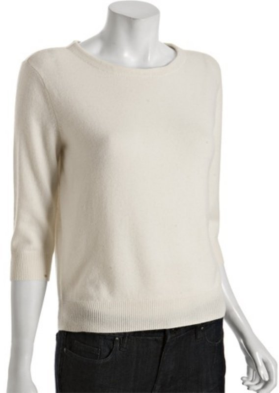 Magaschoni ivory cashmere slouchy crewneck sweater