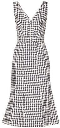 Alexander McQueen Houndstooth V Neck Denim Midi Dress - Womens - White Multi