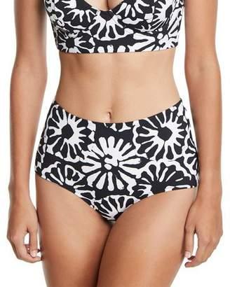 Tory Burch Pomelo Floral-Print High-Waist Swim Bikini Bottoms