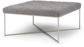 Brooklyn + Max Pryor 38 inch Wide Contemporary Modern Square Ottoman Bench in Granite Woven Fabric