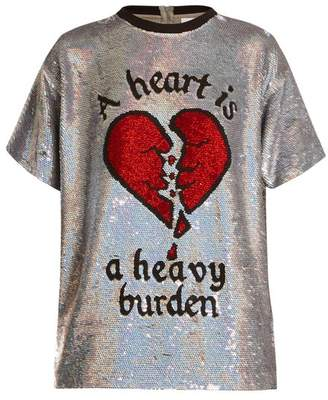Ashish Broken Heart Sequin Embellished Silk Top - Womens - Silver