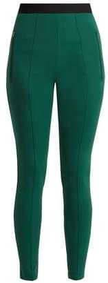 Balenciaga High Rise Logo Skinny Trousers - Womens - Green