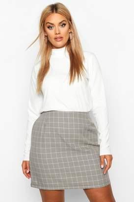 boohoo Plus Check A-Line Mini Skirt