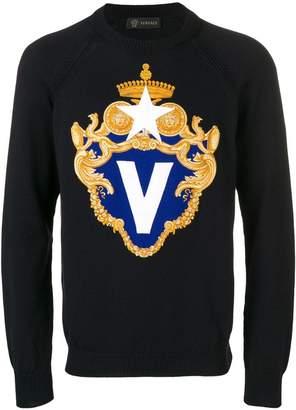 Versace V crest logo jumper